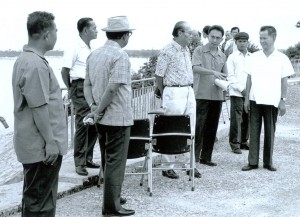 Khieu Samphan (right) meets with members of the Burmese embassy during the DK period. (Source: Documentation Center of Cambodia Archives)